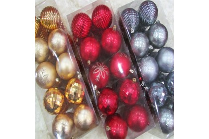 [Ready Stock] Xmas Tree Ball Pack Set (8cm/20pcs) Christmas Tree Decoration Props