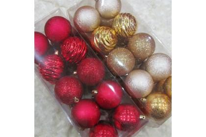[Ready Stock] Xmas Stylish Pattern Tree Ball Pack Set (8cm/20pcs) Christmas Tree Decoration Props