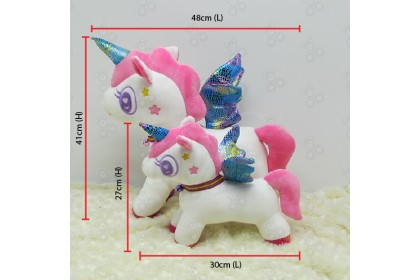 [Ready Stock] 48cm (length) New 2020 Unicorn Rainbow Wing with Bell Ring Necktie Soft Plush