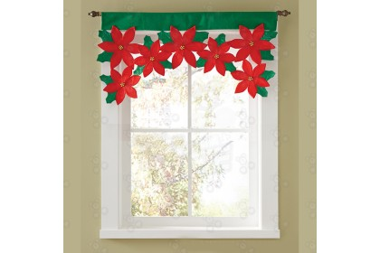 [Ready Stock] XMAS CURTAIN 聖誕三角旗窗簾 / 聖誕密絲絨窗簾/聖誕花瓣窗簾 - Christmas Window Curtain Decoration