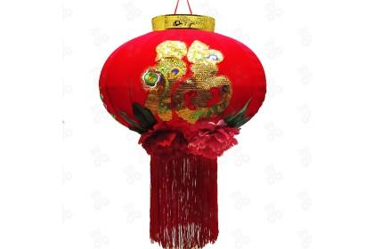 [Pre-Order] Lantern 21-6 - 60cm CNY Big Blessing Peony Embroidery Red Flock Lantern Hanging 大福字牡丹百花紅燈籠特別設計款 (Custom Made) 1pcs