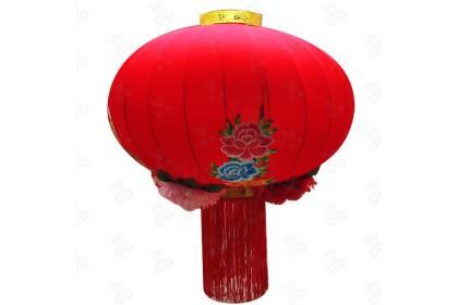 [Pre-Order] Lantern 21-6 - 100cm CNY Big Blessing Peony Embroidery Red Flock Lantern Hanging 大福字牡丹百花紅燈籠