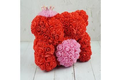 (Ready Stock) 25cm 1pair Lover Bear Of Rose Teddy Bear Artificial Flower Birthday Bear with Box