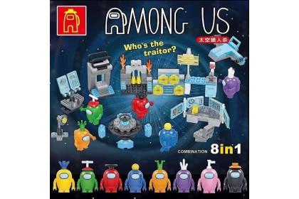 [Ready Stock]116A Among Us Spaceship Space Werewolf Killing [8in1/set] Building Blocks 太空狼人杀八合一积木