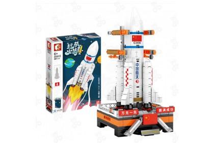 [Ready Stock] Sembo Block 203011/203012/203013 Super Meng Rockets-Long March Spaceship Satellite Building Bricks