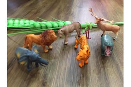 (Ready Stock) 6 Pieces Wild Animal Set hard toys...