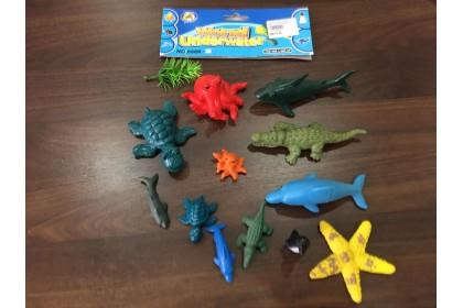 (Ready Stock) 12 pieces Ocean Animal Set hard Toys...
