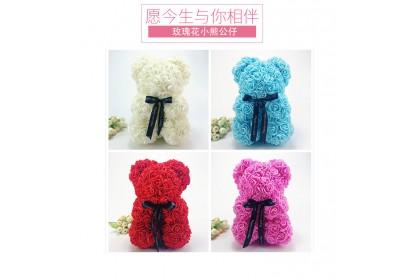 (Ready Stock) 36cm Bear Of Rose Teddy Bear Artificial Flower Birthday Bear